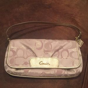 Coach bag gold and beige